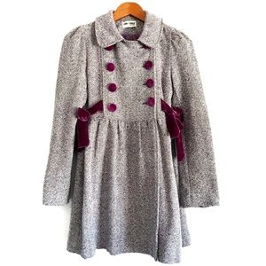 Vintage Tweed Pea Coat with Velvet Buttons & Bows